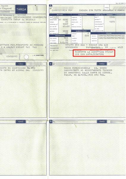 Leggere direttiva CEE per verifica classe antinquinamento - Libretti vecchio tipo