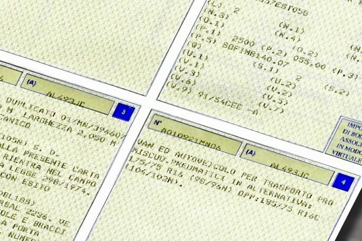 Libretto - Carta di circolazione Veicolo - per verifica Classe antinquinamento Euro 6